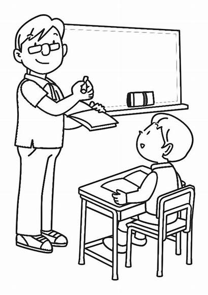 Classroom Coloring Drawing Clase Pages Colorear Para