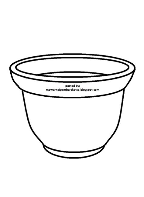 cara mewarnai gambar vas bunga