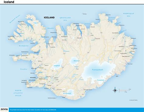 printable travel maps  iceland moon travel guides