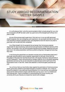 Sample Letter Of Recommendation For Graduate School Study Abroad Letter Of Recommendation Sample That Will