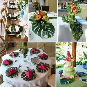 Deco Table Tropical : 12pcs 35x29cm artificial tropical palm leaves for hawaii luau party decorations beach theme ~ Teatrodelosmanantiales.com Idées de Décoration