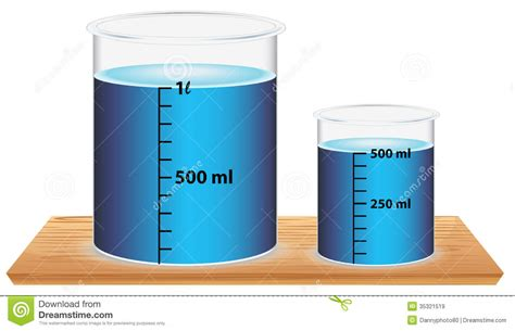 small rectangle table a small and a big laboratory beaker stock vector image