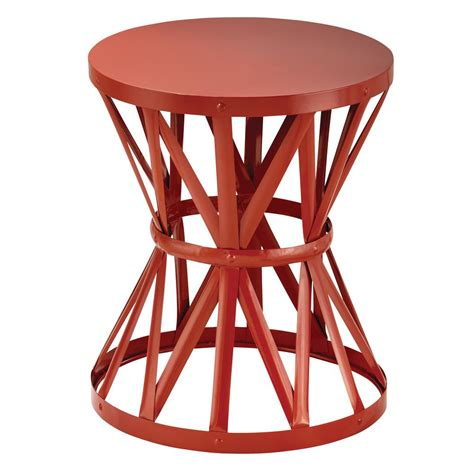 metal garden stool in chili hd16023d the home