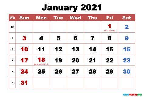 printable january  calendar  holidays word