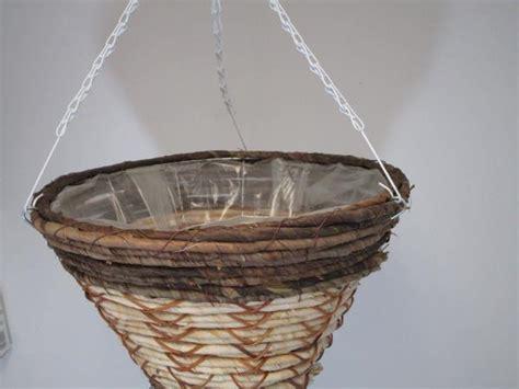 14 quot wicker rattan dark brown hanging basket flower planter cone shape ebay