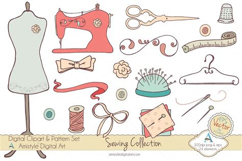 Sewing Clip Sewing Collection Clipart Vector Illustrations