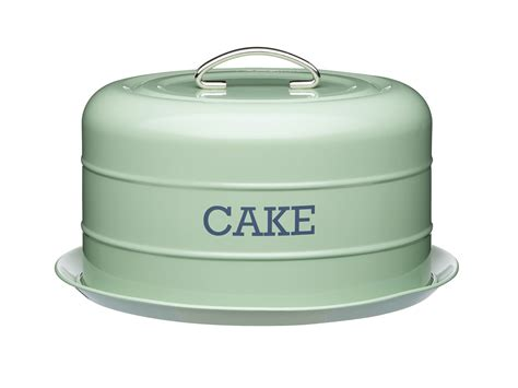 living nostalgia airtight cake storage tincake dome english sage green cake tins kitchen