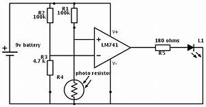dark light sensor based on the lm741 opamp With resistor current sensor circuits electronic circuit projects