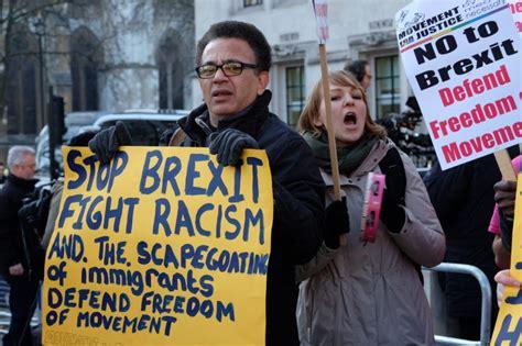 pro brexit protestors called racist  supreme court demo