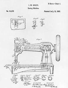 patent drawing of an early singer round bobbin sewing With singer wire diagram