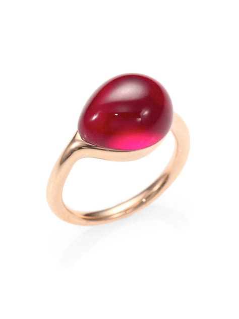 ruby cabochon lyst pomellato cabochon ring in pink