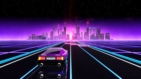 Futuristic City Hd Wallpaper Neon Drive 80s Arcade Game A Game By Fraoula