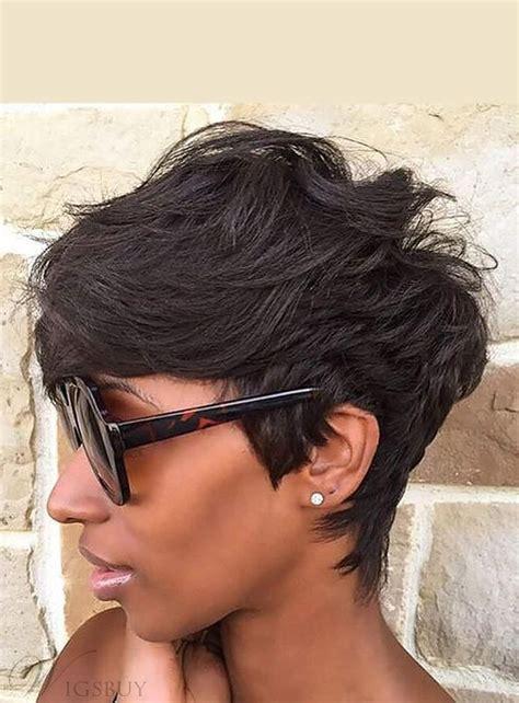 natural cut pixie messy layered wave short human hair