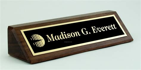 desk name plate solid walnut desk nameplate w laser etched plate 2 quot x 8