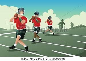 Vectors of Kids in American football practice - A vector ...