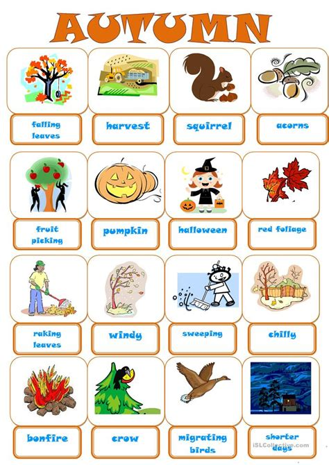 autumn pictionary worksheet  esl printable