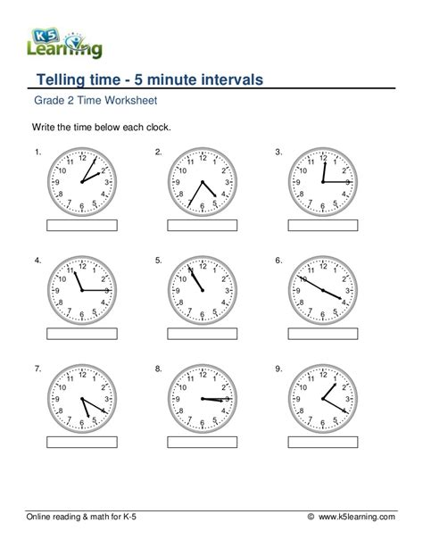 grade  telling time  minute intervals