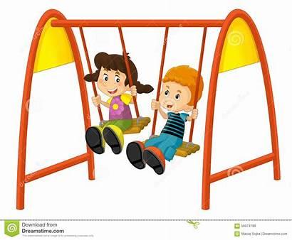 Swing Cartoon Children Swings Clipart Tecknad Fumetto