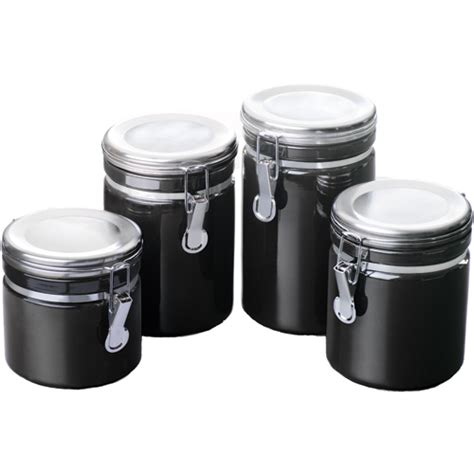 kitchen canisters ceramic ceramic kitchen canisters black set of 4 in plastic