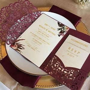 laser cut pocket wedding invitation kit burgundy wedding With burgundy wedding invitations kits
