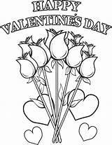 Coloring Flowers Happy Valentine Valentines Printable sketch template