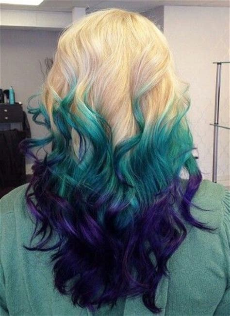Blonde Teal Blue Purple Dyed Ombre Hair Color Iluvpibbles