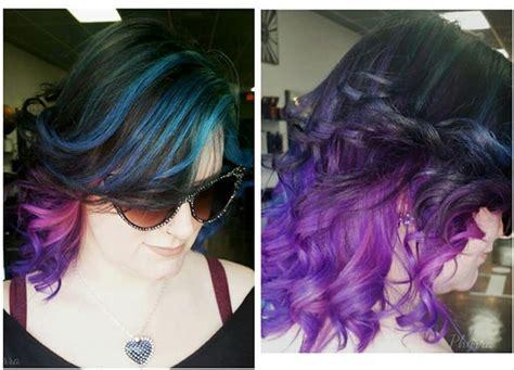 Teal Orchid Violet Hair Using Pravana Hair Dye. Pale Girl