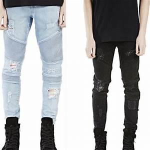 Black Skinny Jeans Mens Pants 2016 Men Denim Biker Jeans Slim Straight Elastic Destroyed Ripped ...