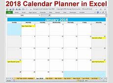 2018 calendario anno stampabile in Excel calendari mensili