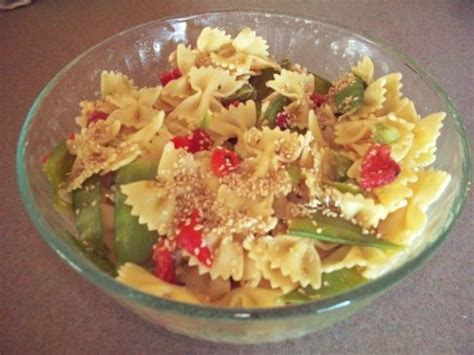 oriental bow tie pasta salad recipe sparkrecipes