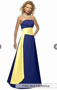 bright yellow bridesmaid dresses with royal blue sash