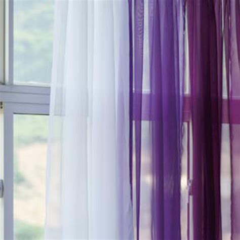 sheer dark purple and white silk curtain window treatment