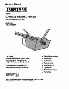 Craftsman 1  2 Hp Garage Door Opener 139 53978srt User
