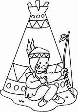 Coloring Indian Pages Teepee Native American Boy sketch template