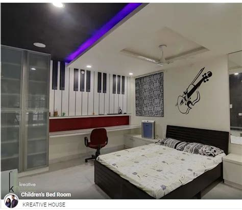 The modern music fan knows the best way to equalise. #ThemeBedroom: This bed room designed by #kreativehouse has a music theme. Wherein guitar motif ...