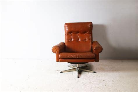 Vintage Danish Swivel Armchair In Leather