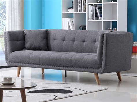 canapé capitonné design canapé design 3 places en tissu karl coloris gris
