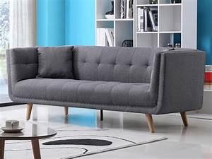 Canapé Tissu Gris : canap design 3 places en tissu karl coloris gris ~ Teatrodelosmanantiales.com Idées de Décoration
