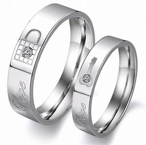 lock and key promise ring quot love quot engraved couples With promise ring engagement ring and wedding band set