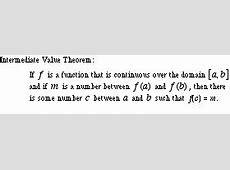 Intermediate Value Theorem Formula