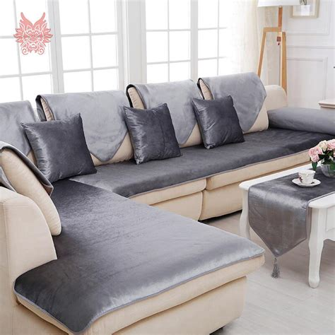 Grey Loveseat Cover by American Grey Camel Solid Velvet Sofa Cover Flannel