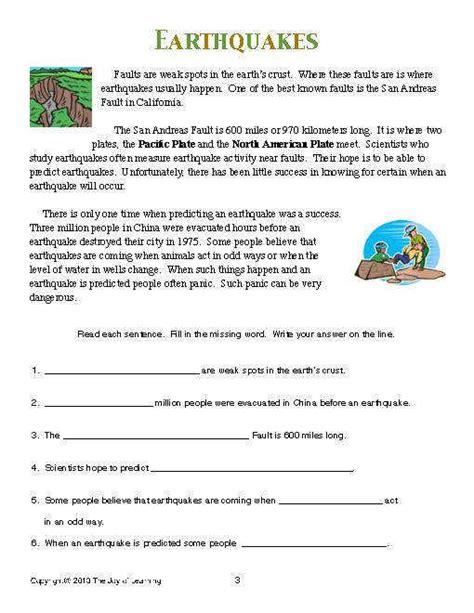 earthquake worksheets homeschooldressage