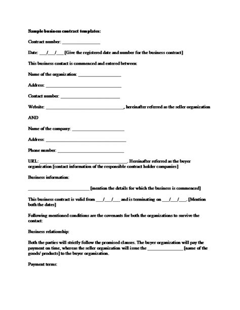 Simple Business Contract Template Example With Blank