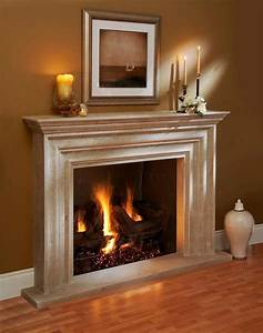 Omega Fireplace mantel of stone - Traditional - Living