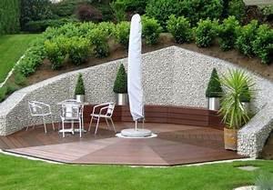 Terrasse Tiefer Als Garten : mur et cl ture gabion id es pour le jardin en 33 photos ~ Orissabook.com Haus und Dekorationen