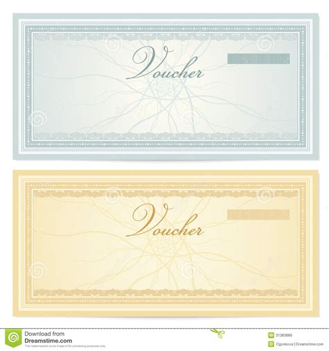 gift certificate voucher template pattern stock image