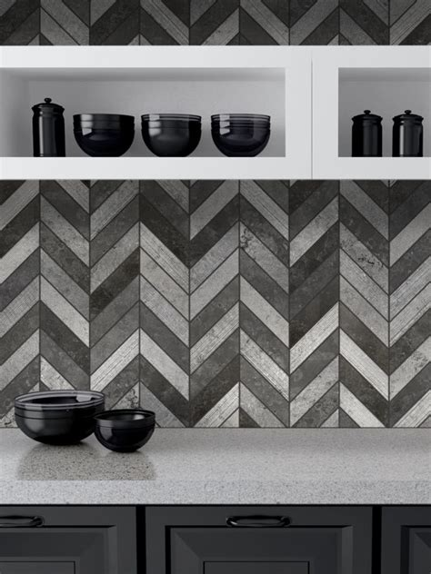 black gray modern limestone chevron backsplash tile