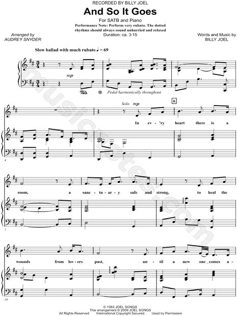 billy joel quot and so it goes quot arr audrey snyder satb