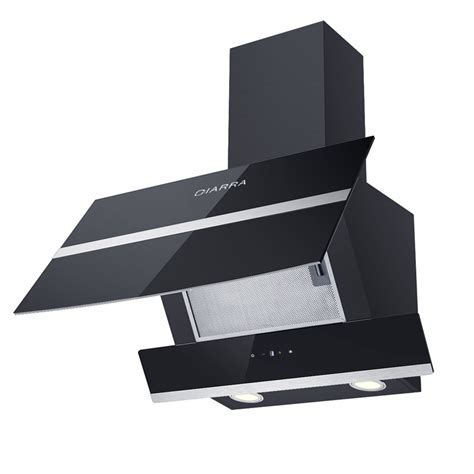 Ciarra 60cm Angled Black Glass Cooker Hood Range Chimney