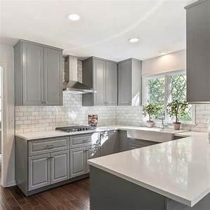 Gray shaker cabinets, white quartz counter tops, Grecian ...